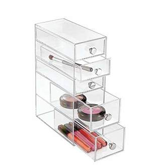 InterDesign Clarity 5-Drawer Cosmetic Organizer for Vanity Cabinet – Perfect Storage Box for Makeup