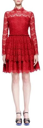 Lanvin Floral Lace-Tiered Fit-And-Flare Dress $3,350 thestylecure.com