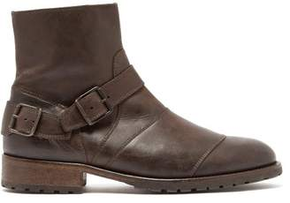 Belstaff Buckled Leather Boots - Mens - Black Brown