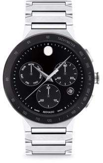 Movado Sapphire Sport Stainless Steel Link Bracelet Watch