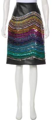 Romance Was Born Embellished Faux Leather Skirt