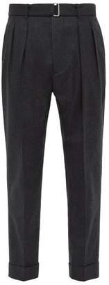 Officine Generale Pierre Belted Wool Trousers - Mens - Grey