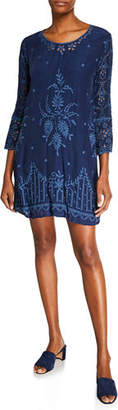 Johnny Was Connor 3/4-Sleeve Eyelet-Embroidered Dress w/ Slip