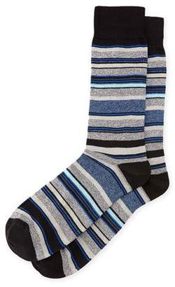 Neiman Marcus Striped Cotton Socks, Black