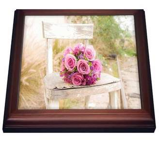 N. 3dRose Shabby Chic Image With Country Chair Pink Roses.jpg, Trivet with Ceramic Tile, 8 by 8-inch