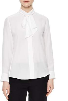 Sandro Caline Tie-Neck Silk Shirt