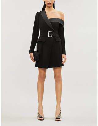 Lavish Alice Asymmetric belted stretch-crepe mini dress