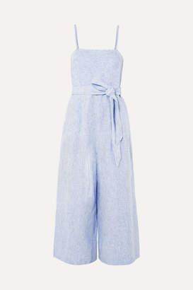 J.Crew Marseille Belted Striped Linen Jumpsuit - Blue
