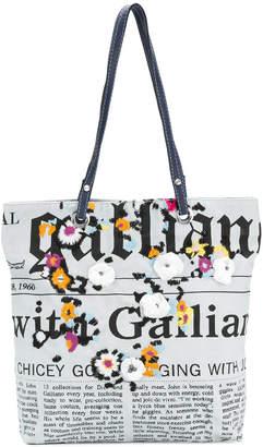 John Galliano newspaper print shoulder bag