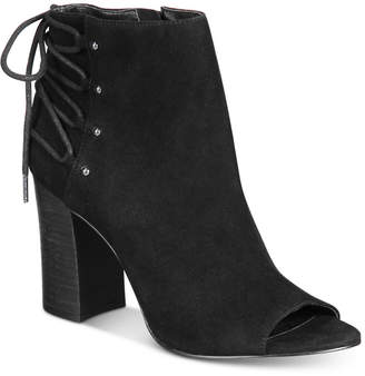 Nine West Britt Back Lace-Up Peep-Toe Block-Heel Booties $109 thestylecure.com