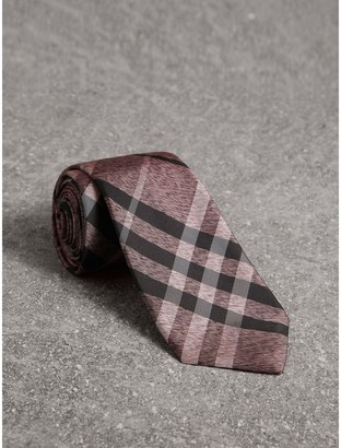 Burberry Modern Cut Check Silk Tie, Pink