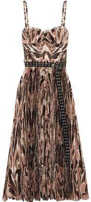 Alexander McQueen Belted Printed Plissé Silk Crepe De Chine Midi Dress