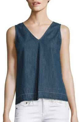 Rag & Bone Draped Cotton Chambray Tank Top