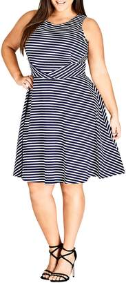 City Chic Nautical Stripe A-Line Tie Dress