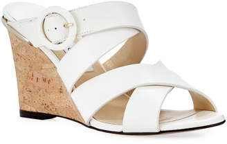 Jimmy Choo Delila Vachetta Leather Wedge Slide Sandals