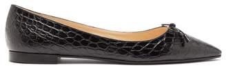 Prada Bow Front Crocodile Effect Leather Ballet Flats - Womens - Black