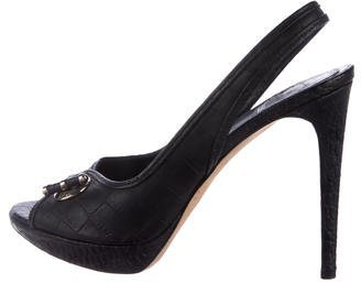 Christian Dior Embossed Leather Slingback Pumps