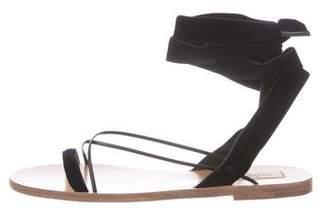 Valentino Velvet Round-Toe Sandals