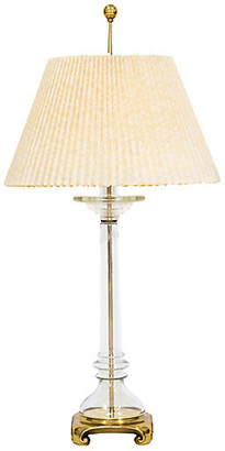 One Kings Lane Vintage Brass & Glass Lamp w Shade by Speer - Janney's Collection