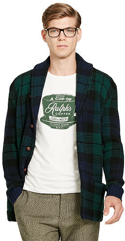 Polo Ralph Lauren Polo Ralph Lauren Plaid Wool Shawl Cardigan