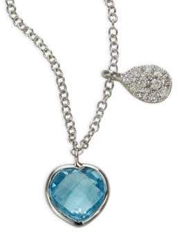 Meira T Diamond, Blue Topaz & 14K White Gold Heart Necklace