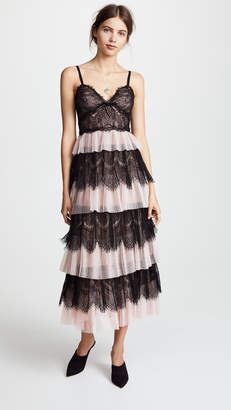 Marchesa Pleated & Scalloped Tiered Gown