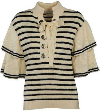 Self-Portrait Self Portrait Striped Eyelet Frill Sleeve Knit Top