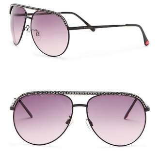 Betsey Johnson Rhinestone Embellished Aviator Sunglasses