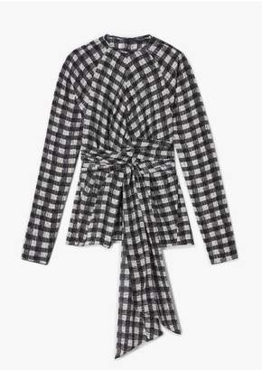 Derek Lam Long Sleeve Plaid Print Blouse With Waist Tie Detail