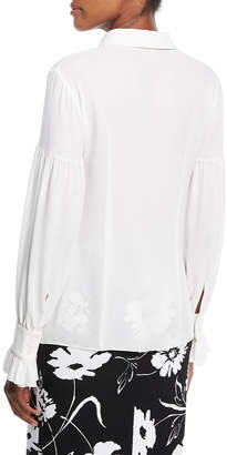 Michael Kors Gathered-Sleeve Silk Shirt
