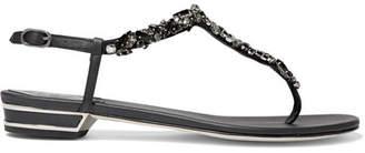 Rene Caovilla Crystal-embellished Leather Sandals - Black