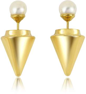 Vita Fede Gold Plated Double Titan Pearl Earrings w/Akoya Pearls