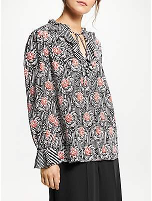 d6a6945e3a90 Somerset by Alice Temperley Floral Stripe Ruffle Detail Blouse, Multi