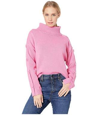 J.o.a. Turtleneck Sweater with Buttoned Sleeves