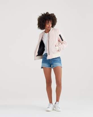 7 For All Mankind Lace Up Bomber in Petal Pink