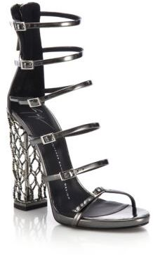 Metal Cage Heel Strappy Leather Sandals $1,995 thestylecure.com
