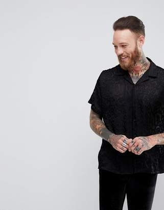 Asos Design Oversized Viscose Shirt With Sheer Leopard Burnout And Revere Collar In Black