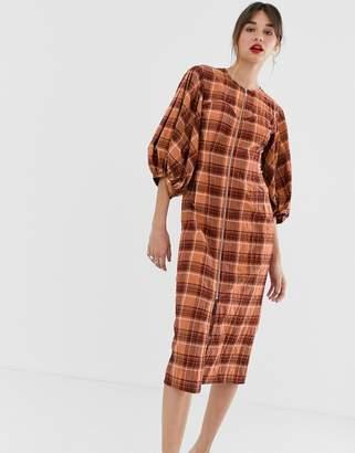 Asos orange check zip front midi dress