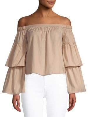 BCBGMAXAZRIA Layered-Sleeve Cotton Blouse
