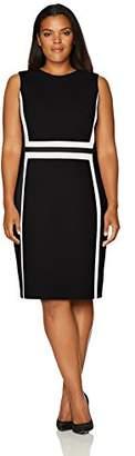 Calvin Klein Women's Plus Size Sleeveless Color Block Sheath Dress