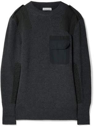 Tomas Maier Twill-paneled Merino Wool Sweater - Gray