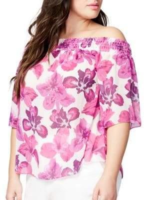 Rachel Roy Plus Floral Off-the-Shoulder Top