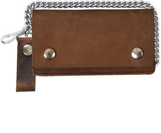 Hot Leathers Leather Biker Billfold Chain Wallet Distressed