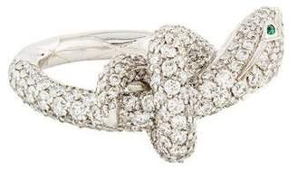 Boucheron 18K Diamond & Emerald Kaa The Snake Ring