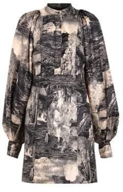 Burberry Pascala Puff Sleeve Silk Dress