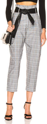 Marissa Webb Anders Pant with Leather Belt in Grey Multi Plaid | FWRD
