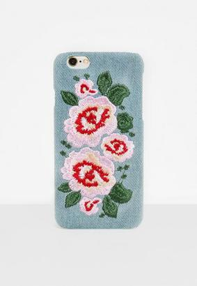 Missguided Blue Denim Floral Embroidery iPhone 6/6S Case, Multicolour