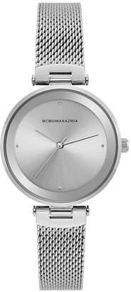 BCBGMAXAZRIA Ladies Silver Tone Mesh Bracelet Watch with Silver Dial, 33MM