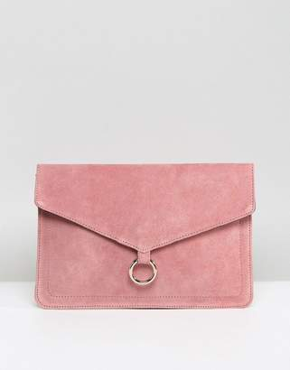 Asos DESIGN suede envelope clutch bag with ring detail