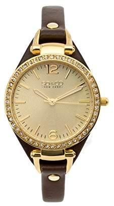 SO&CO New York Women's 5061.2 SoHo Quartz Gold Tone Case Brown Slim Leather Strap Watch